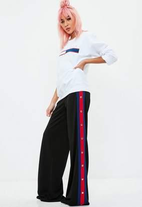 Missguided Black Popper Side Stripe Split Trousers, Black
