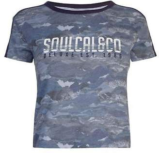 Soul Cal SoulCal Womens Deluxe Mountain Print T Shirt Crew Neck Tee Top Short Sleeve