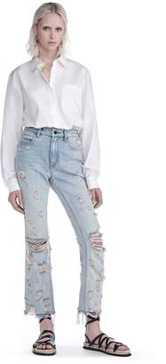 Alexander Wang Cotton Poplin Long Sleeve Shirt Bodysuit