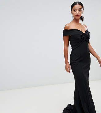 Bardot Jarlo Petite cross front and back maxi dress in black
