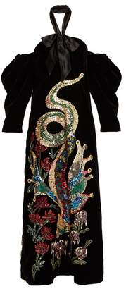 Gucci - Embellished Off The Shoulder Velvet Gown - Womens - Black Multi