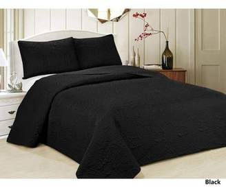 Generic Oversized 3-Piece Bedspread Set with Geometric Pattern-Black Color-California King Size