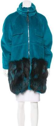 Iceberg Fur-Paneled Textured Coat