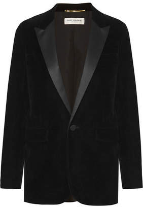 Saint Laurent Satin-trimmed Velvet Tuxedo Blazer - Black