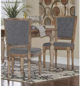 Linon Nottingham Square Back Chair- Brown, Set of 2, Assembled