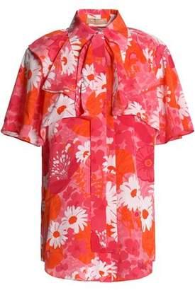 Michael Kors Pussy-Bow Floral-Print Silk Crepe De Chine Shirt