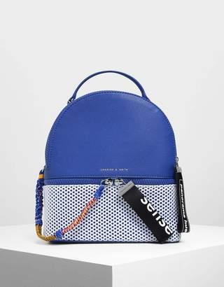 Charles & Keith Two-Way Zip Mesh Detail Backpack