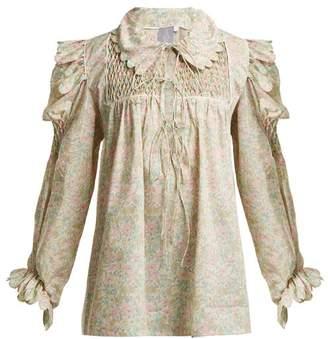 Horror Vacui - Smocked Scallop Edged Cotton Blouse - Womens - White Multi