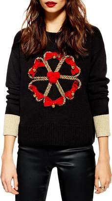Topshop Christmas Candy Cane Wreath Sweater