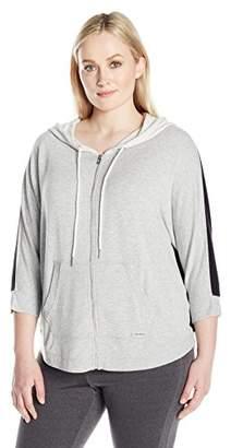 Calvin Klein Women's Plus SizeZip Front Dolman Sleeve Colorblock Hoodie Size