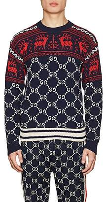 Gucci Men's Fair Isle- & GG-Pattern Wool Sweater - Navy