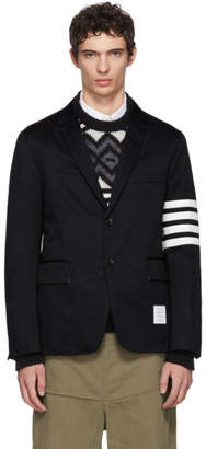 Thom Browne Navy Seamed Four Bar Unconstructed Blazer