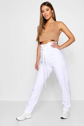 boohoo Petite Pinstripe Paperbag Tapered Trouser
