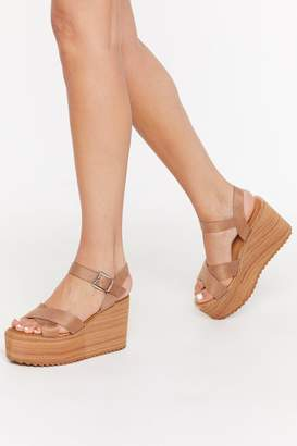 Nasty Gal Womens Living On The Wedge Faux Suede Wedges - Beige - 4, Beige