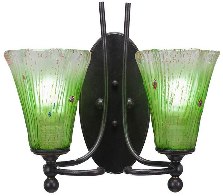 Cambridge Silversmiths Cambridge 2-Light Dark Granite Sconce with Fluted Kiwi Green Ribbed Glass