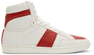 Saint Laurent White and Red Court Classic SL/10 High-Top Sneakers