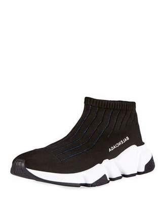 Balenciaga Knit Sock High-Top Sneaker, Black/Blue $595 thestylecure.com