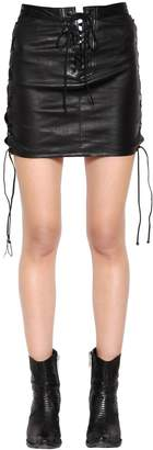 Unravel Lace-Up Leather Mini Skirt