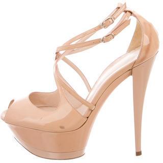 Casadei Patent Leather Platform Sandals $110 thestylecure.com