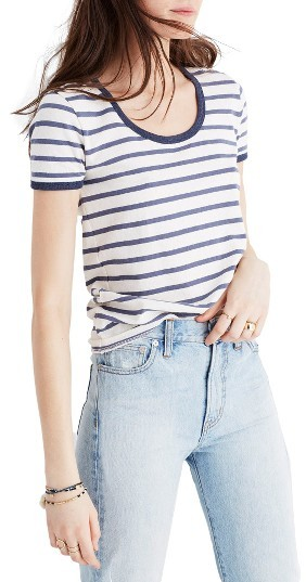 Women's Madewell Stripe Recycled Cotton Ringer Tee