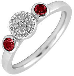 Simply Stacks Sterling Double Round Garnet Diam ond Ring