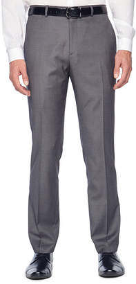 Jf J.Ferrar Gray Stretch Sharkskin Stretch Super Slim Fit Suit Pants - Slim