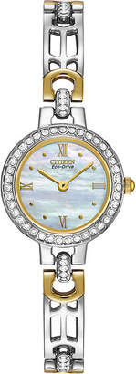 Citizen Eco-Drive Womens Crystal-Accent Two-Tone Bracelet Watch EW8464-52D