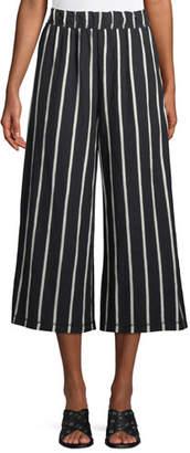 Eileen Fisher Slubby Striped Wide-Leg Capri Pants, Plus Size