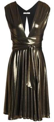 Halston Belted Gathered Lamé Dress