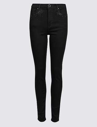 Marks and Spencer Embellished Roma Rise Skinny Jeans
