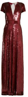 Temperley London Ray Sequined Gown - Womens - Dark Red