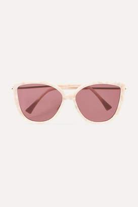 Ganni Gaia Cat-eye Acetate And Gold-tone Sunglasses - Pink