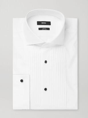 HUGO BOSS White Slim-Fit Cutaway-Collar Pleated Bib-Front Cotton Tuxedo Shirt