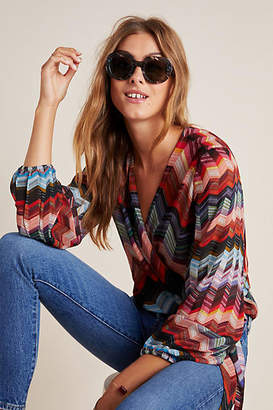 Conditions Apply Laurie Chevron Wrap Blouse