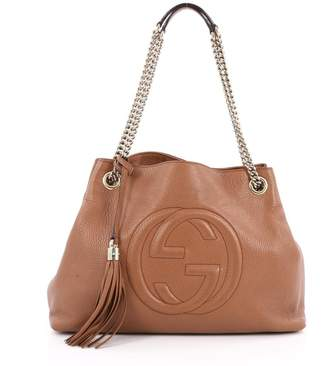 Gucci Soho Shoulder Bag GG Chain Strap Interlocking Logo Stitched Medium Brown