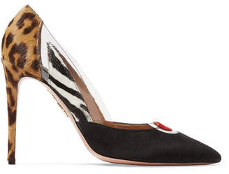 Aquazzura Fearless Pvc-trimmed Printed Calf Hair And Suede Pumps - Leopard print