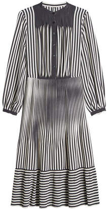 Marco De Vincenzo Striped Silk Midi Dress