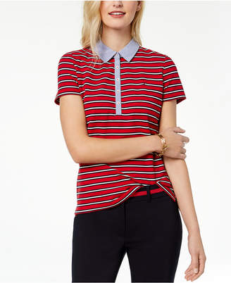 Tommy Hilfiger Printed Chambray-Collar Polo Top, Created for Macy's