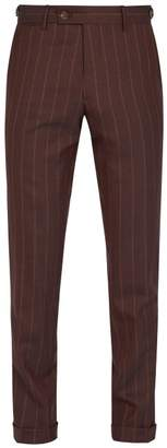 Etro Pinstripe Wool Trousers - Mens - Burgundy