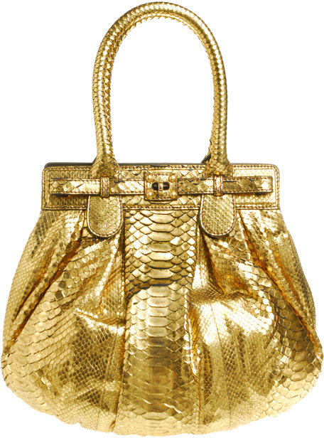 Zagliani Puffy Metallic Python Handbag