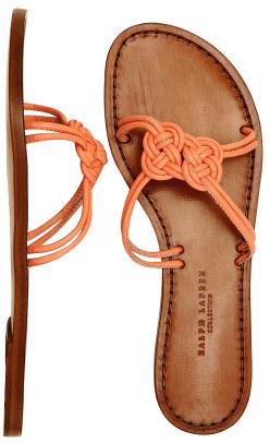 Ralph Lauren: Collection peach leather 'Amanda' knot slides