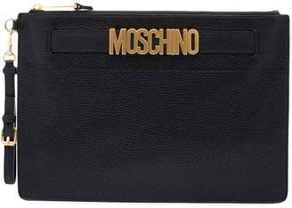 Moschino Black logo leather pouch