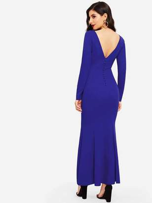 Shein Button Back Bodycon Maxi Mermaid Dress