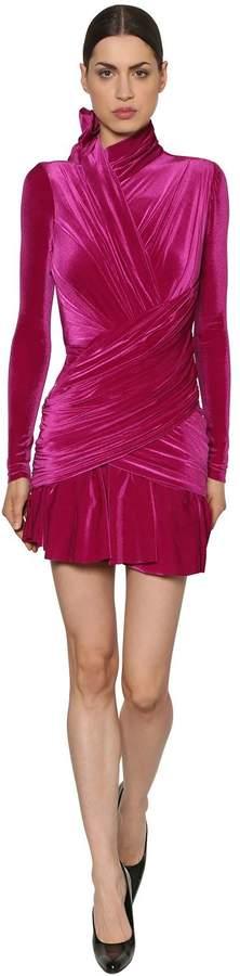 Draped Stretch Velvet Dress