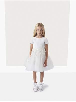 Oscar de la Renta Kids Silk Faille Tulle Embroidery Flower Girl Dress