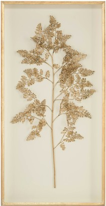 Gold Fern Framed Wall Art with Ivory Background 2