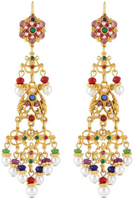 Jose & Maria Barrera Long Filigree Crystal & Pearly Drop Earrings
