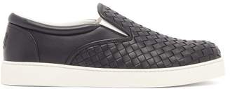 Bottega Veneta Dodger Intrecciato Leather Trainers - Mens - Navy