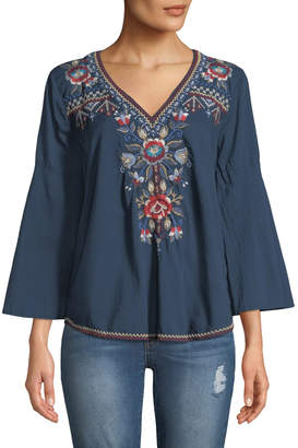 Johnny Was Bohdi Embroidered Cotton Voile Swing Shirt