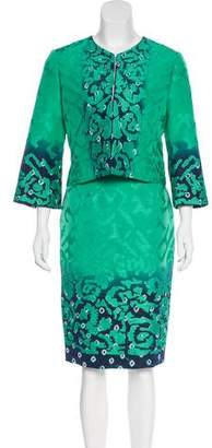 Oscar de la Renta Embroidered Silk Skirt Suit